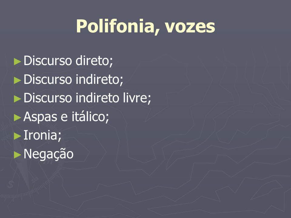 Polifonia, vozes Discurso direto; Discurso indireto; Discurso indireto livre; Aspas e itálico; Ironia; Negação