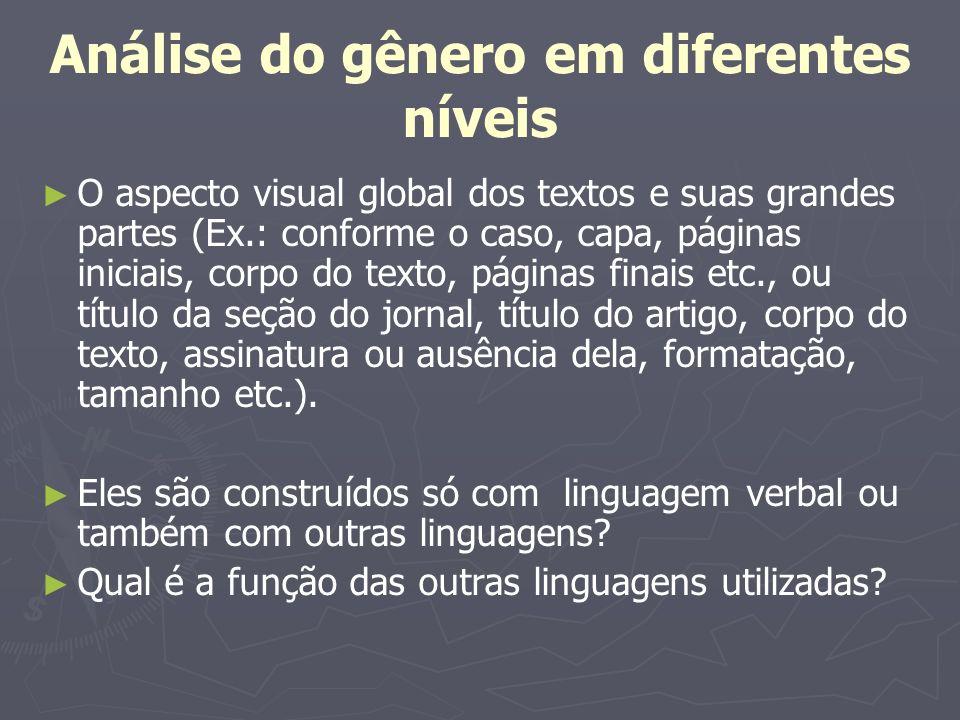 Análise do gênero em diferentes níveis O aspecto visual global dos textos e suas grandes partes (Ex.: conforme o caso, capa, páginas iniciais, corpo d