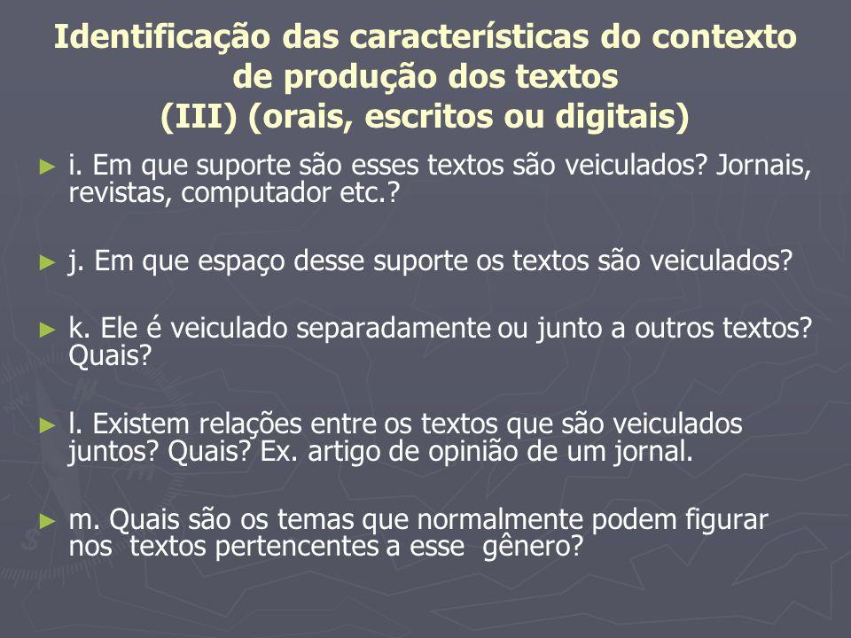 Identificação das características do contexto de produção dos textos (III) (orais, escritos ou digitais) i. Em que suporte são esses textos são veicul