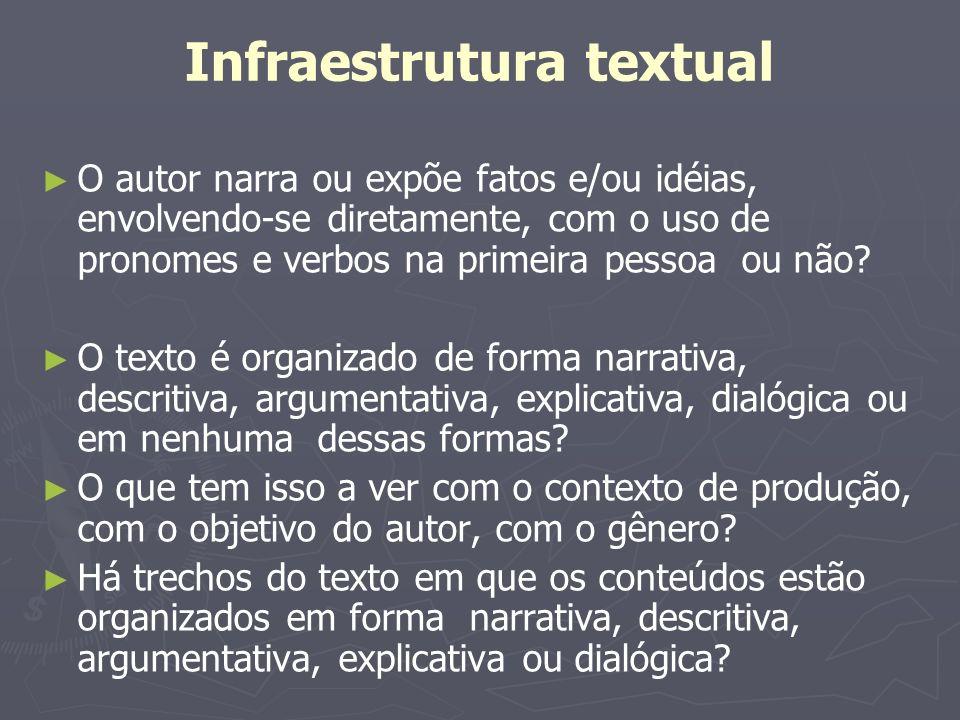 Infraestrutura textual O autor narra ou expõe fatos e/ou idéias, envolvendo-se diretamente, com o uso de pronomes e verbos na primeira pessoa ou não?