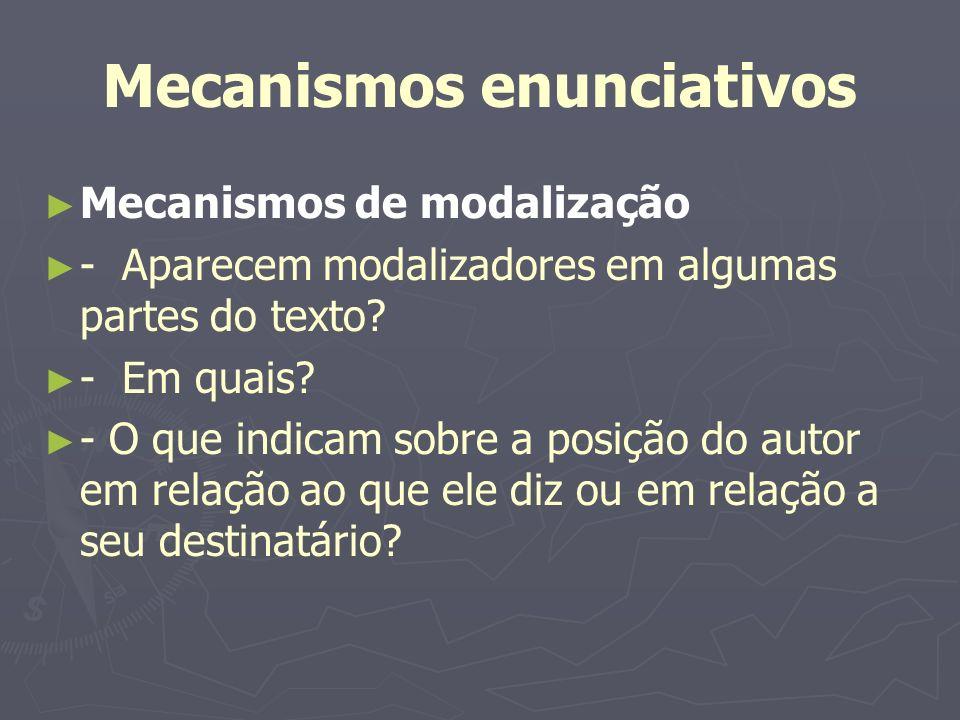Mecanismos enunciativos Mecanismos de modalização - Aparecem modalizadores em algumas partes do texto? - Em quais? - O que indicam sobre a posição do