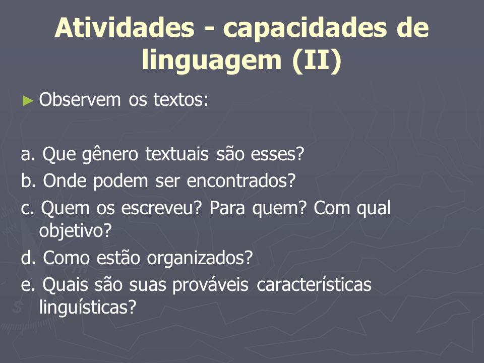 Atividades - capacidades de linguagem (II) Observem os textos: a. Que gênero textuais são esses? b. Onde podem ser encontrados? c. Quem os escreveu? P