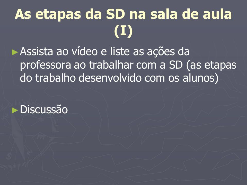 As etapas da SD na sala de aula (I) Assista ao vídeo e liste as ações da professora ao trabalhar com a SD (as etapas do trabalho desenvolvido com os a