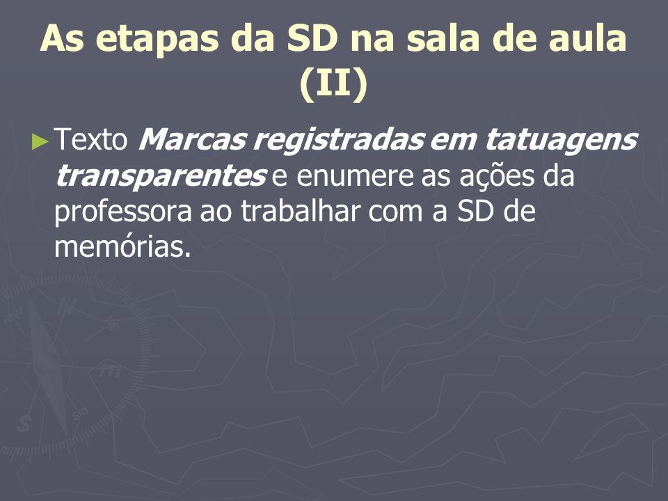 As etapas da SD na sala de aula (II) Texto Marcas registradas em tatuagens transparentes e enumere as ações da professora ao trabalhar com a SD de mem