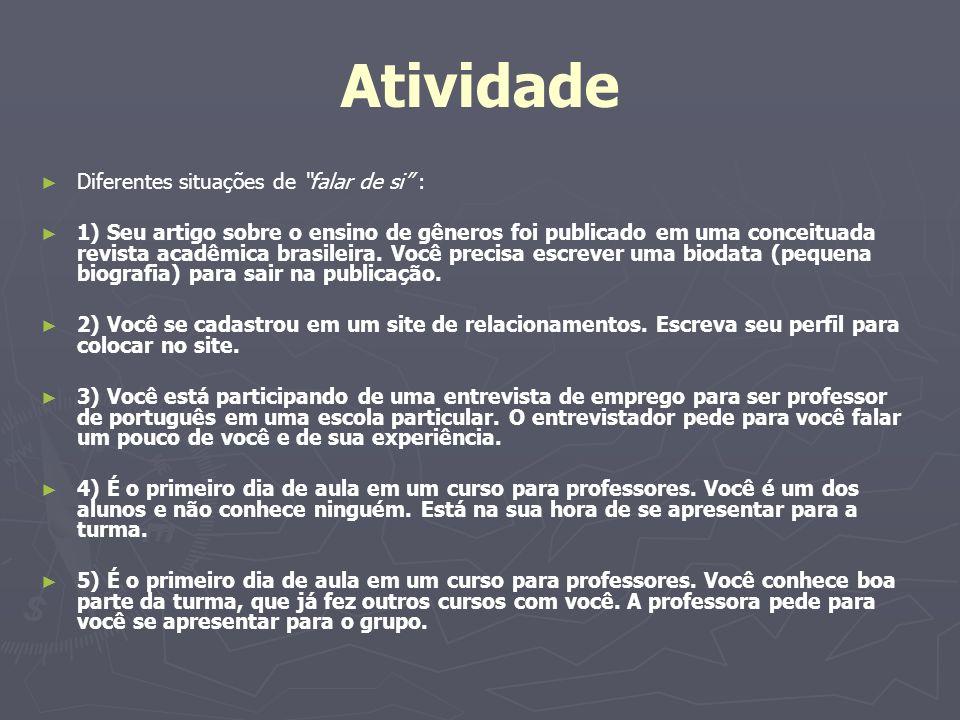 Atividade Diferentes situações de falar de si : 1) Seu artigo sobre o ensino de gêneros foi publicado em uma conceituada revista acadêmica brasileira.