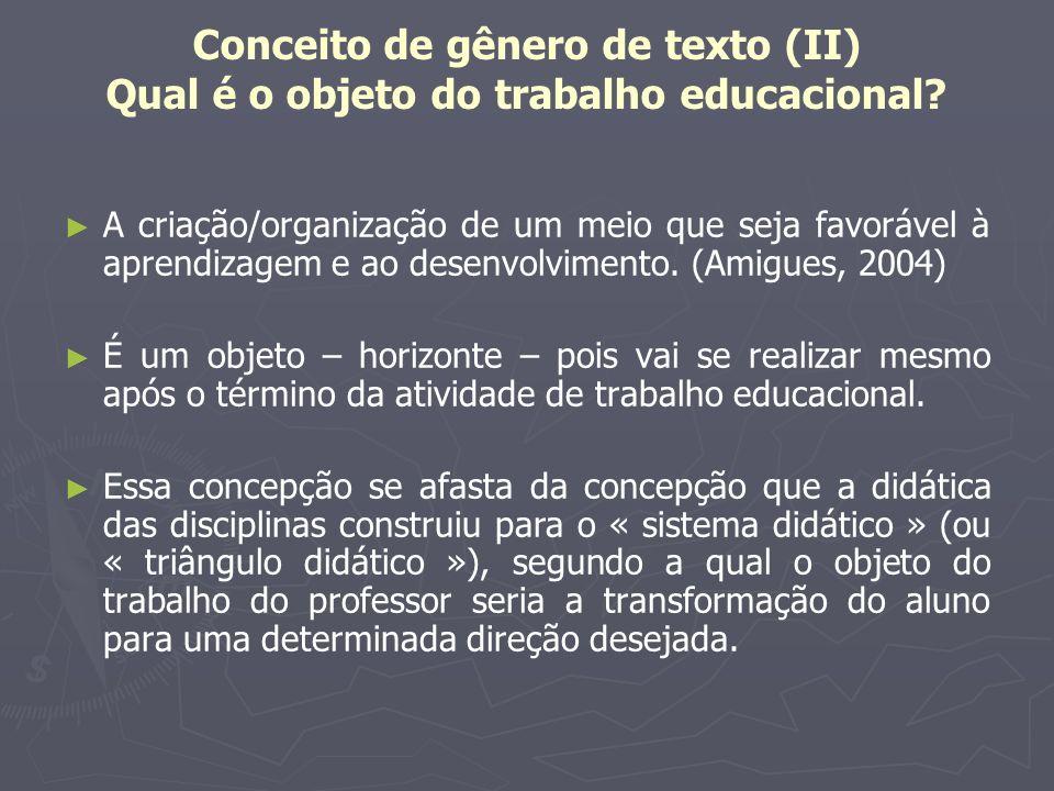 Conceito de gênero de texto (II) Qual é o objeto do trabalho educacional? A criação/organização de um meio que seja favorável à aprendizagem e ao dese