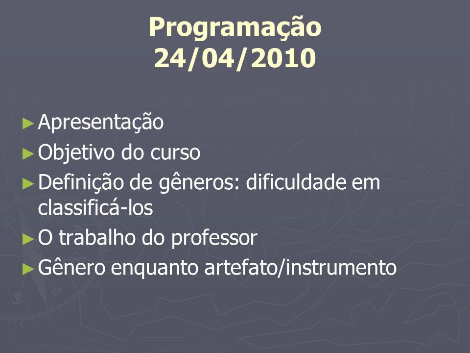 Programação 24/04/2010 Apresentação Objetivo do curso Definição de gêneros: dificuldade em classificá-los O trabalho do professor Gênero enquanto arte