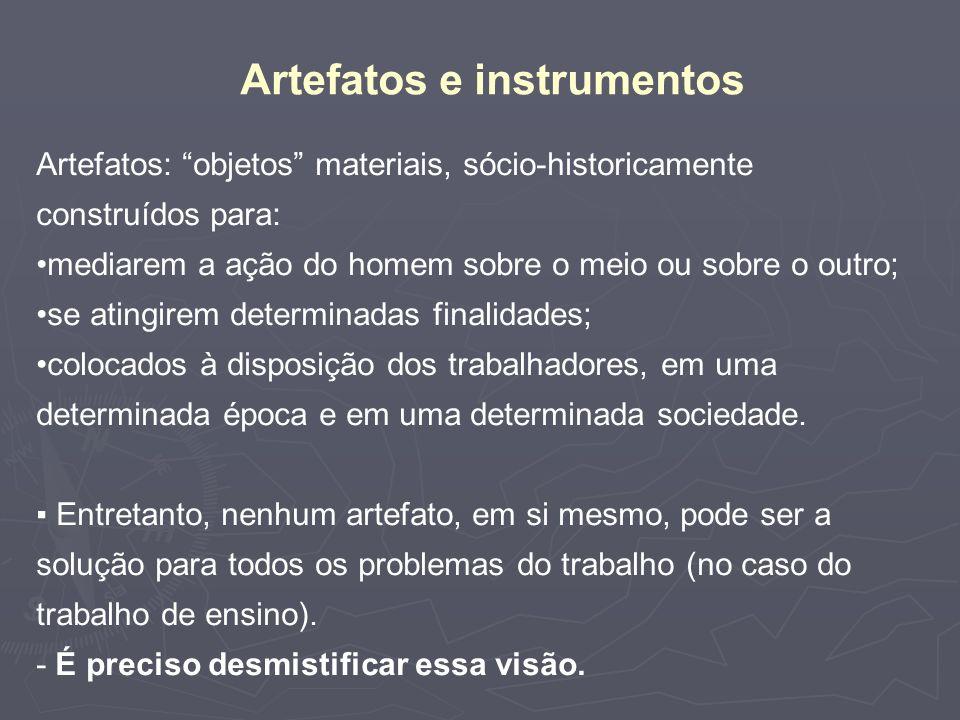 Artefatos e instrumentos Artefatos: objetos materiais, sócio-historicamente construídos para: mediarem a ação do homem sobre o meio ou sobre o outro;