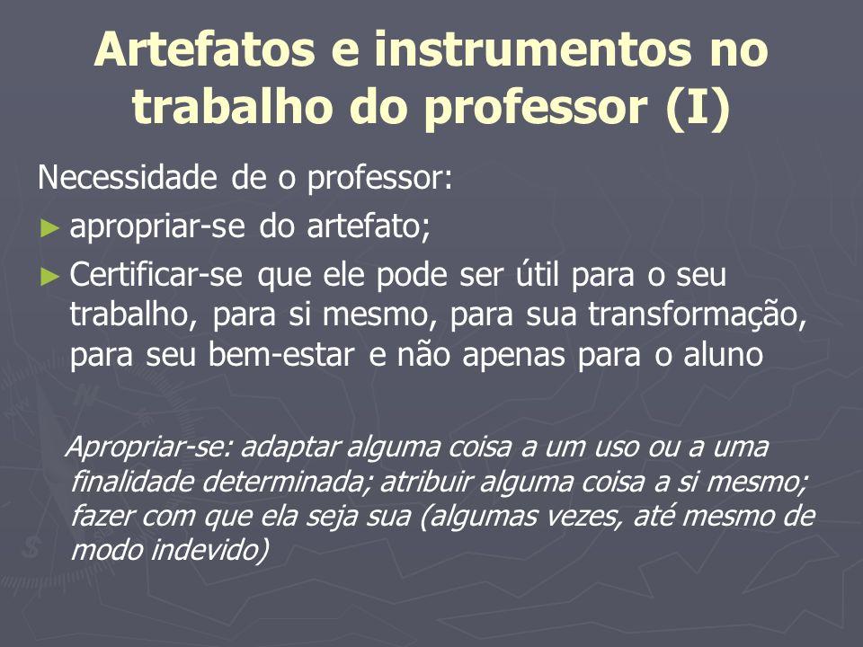 Artefatos e instrumentos no trabalho do professor (I) Necessidade de o professor: apropriar-se do artefato; Certificar-se que ele pode ser útil para o