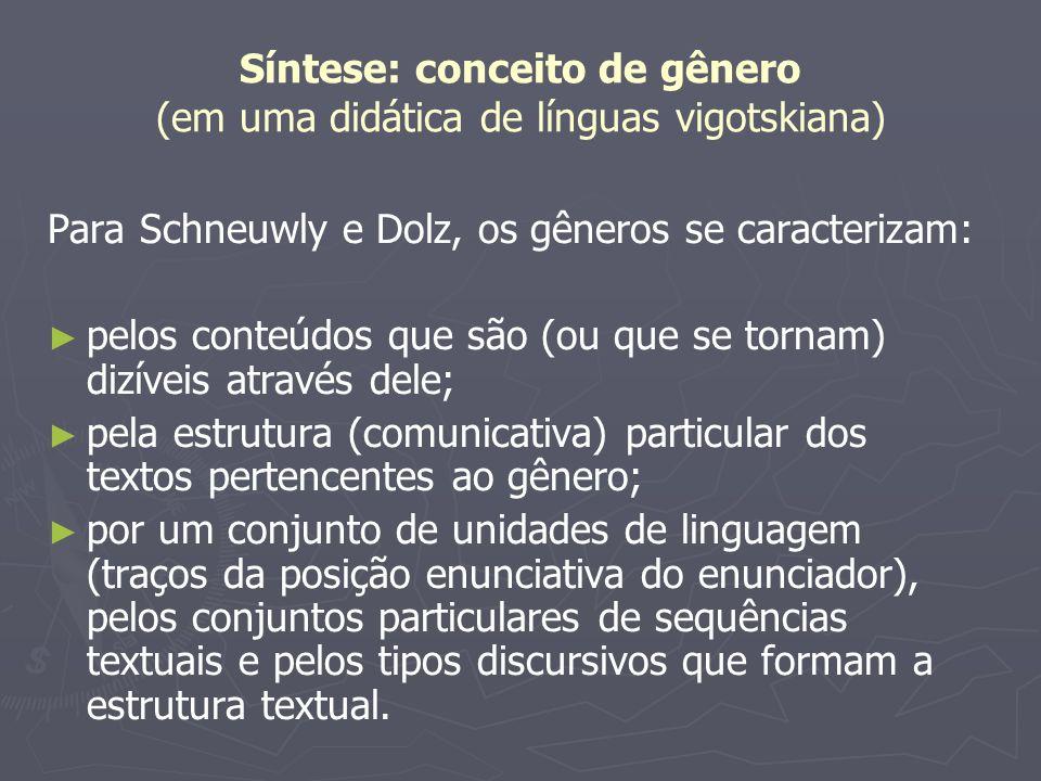 Síntese: conceito de gênero (em uma didática de línguas vigotskiana) Para Schneuwly e Dolz, os gêneros se caracterizam: pelos conteúdos que são (ou qu