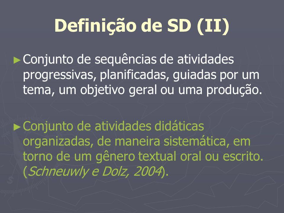 Definição de SD (II) Conjunto de sequências de atividades progressivas, planificadas, guiadas por um tema, um objetivo geral ou uma produção. Conjunto