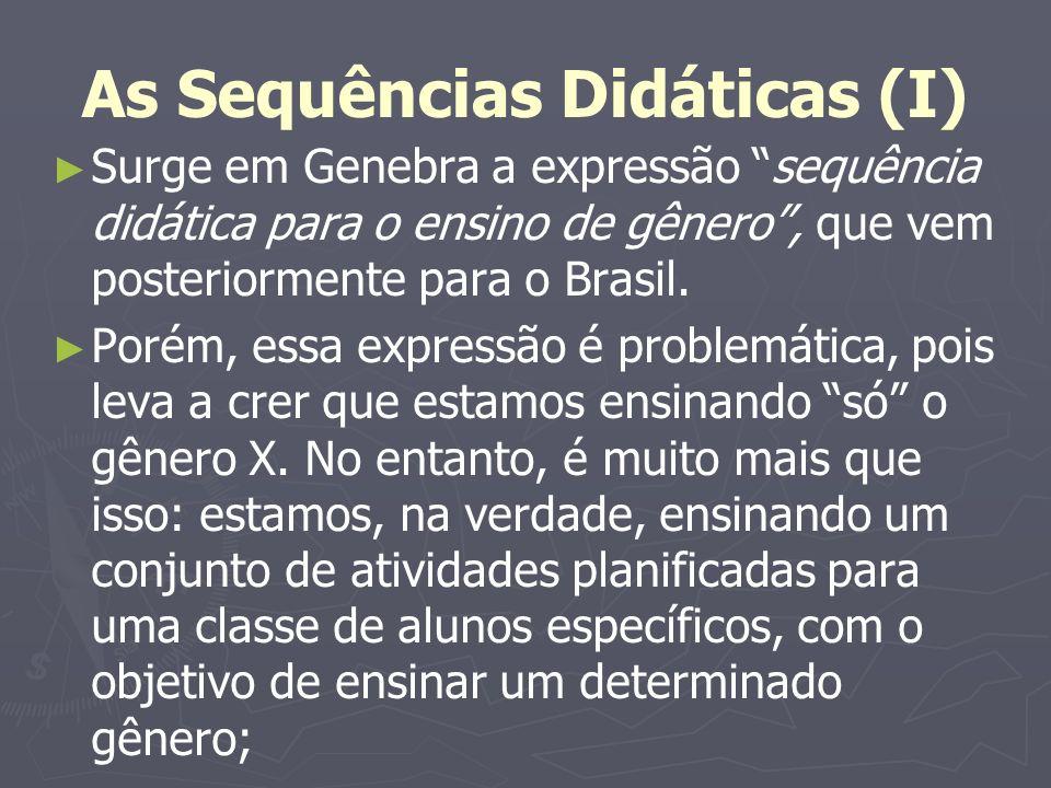As Sequências Didáticas (I) Surge em Genebra a expressão sequência didática para o ensino de gênero, que vem posteriormente para o Brasil. Porém, essa