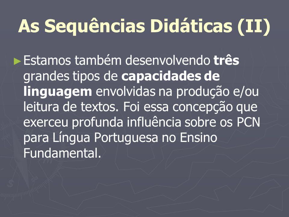 As Sequências Didáticas (II) Estamos também desenvolvendo três grandes tipos de capacidades de linguagem envolvidas na produção e/ou leitura de textos