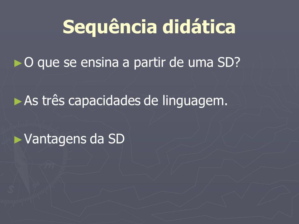 Sequência didática O que se ensina a partir de uma SD? As três capacidades de linguagem. Vantagens da SD
