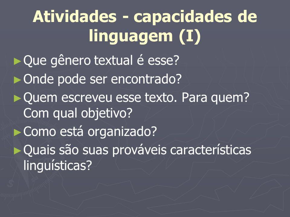 Atividades - capacidades de linguagem (I) Que gênero textual é esse? Onde pode ser encontrado? Quem escreveu esse texto. Para quem? Com qual objetivo?
