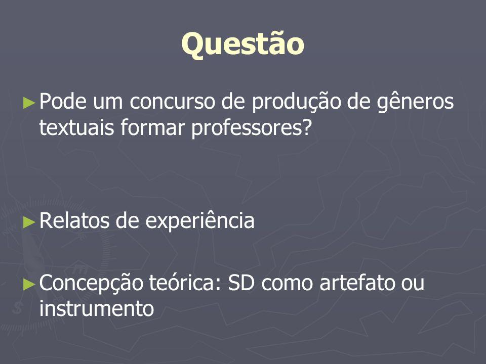 Questão Pode um concurso de produção de gêneros textuais formar professores? Relatos de experiência Concepção teórica: SD como artefato ou instrumento