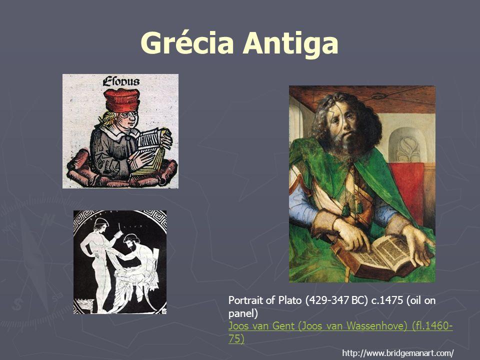 Grécia Antiga Portrait of Plato (429-347 BC) c.1475 (oil on panel) Joos van Gent (Joos van Wassenhove) (fl.1460- 75) http://www.bridgemanart.com/