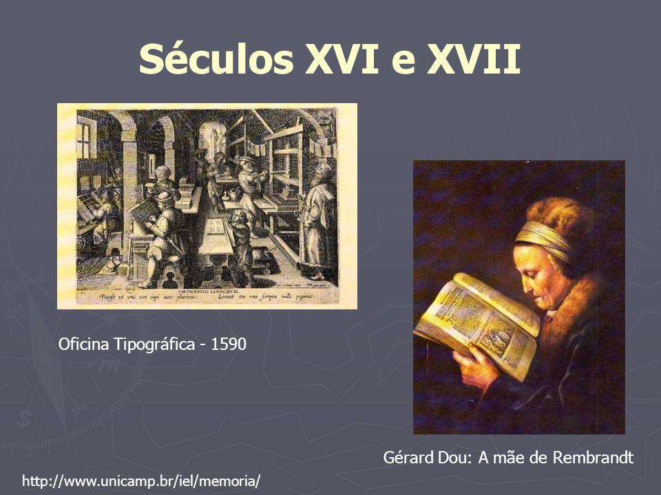 Séculos XVI e XVII Oficina Tipográfica - 1590 Gérard Dou: A mãe de Rembrandt http://www.unicamp.br/iel/memoria/