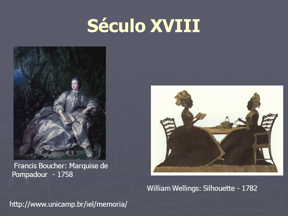 Século XVIII http://www.unicamp.br/iel/memoria/ Francis Boucher: Marquise de Pompadour - 1758 William Wellings: Silhouette - 1782