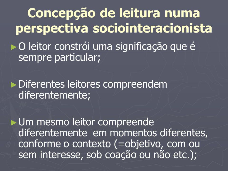 Concepção de leitura numa perspectiva sociointeracionista O leitor constrói uma significação que é sempre particular; Diferentes leitores compreendem