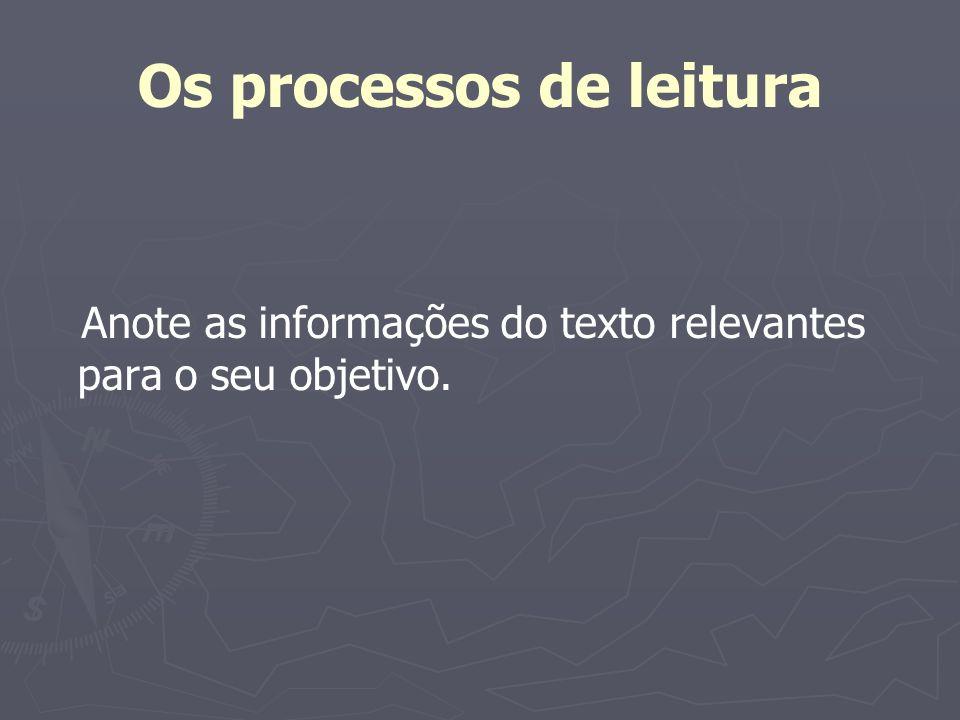 Os processos de leitura Não há um processo de compreensão de texto escrito Há vários processos de leitura tantos quanto forem os objetivos do leitor