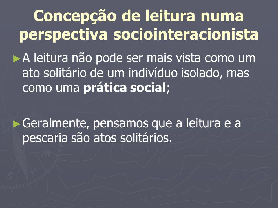 Concepção de leitura numa perspectiva sociointeracionista A leitura não pode ser mais vista como um ato solitário de um indivíduo isolado, mas como um