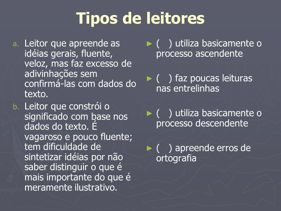 Tipos de leitores a. Leitor que apreende as idéias gerais, fluente, veloz, mas faz excesso de adivinhações sem confirmá-las com dados do texto. b. Lei