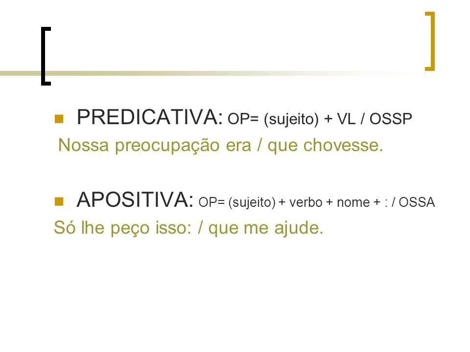 PREDICATIVA: OP= (sujeito) + VL / OSSP Nossa preocupação era / que chovesse. APOSITIVA: OP= (sujeito) + verbo + nome + : / OSSA Só lhe peço isso: / qu