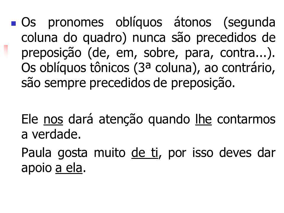 Os pronomes oblíquos átonos (segunda coluna do quadro) nunca são precedidos de preposição (de, em, sobre, para, contra...). Os oblíquos tônicos (3ª co
