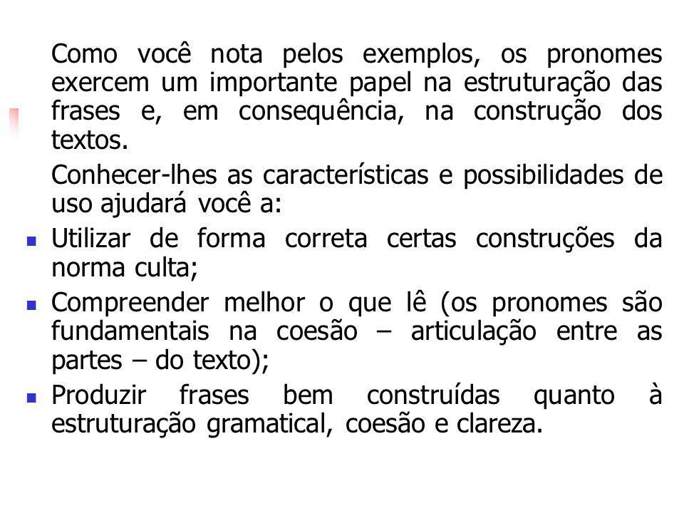 Como você nota pelos exemplos, os pronomes exercem um importante papel na estruturação das frases e, em consequência, na construção dos textos. Conhec