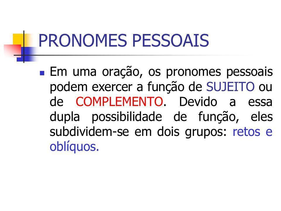 PRONOMES PESSOAIS Em uma oração, os pronomes pessoais podem exercer a função de SUJEITO ou de COMPLEMENTO. Devido a essa dupla possibilidade de função