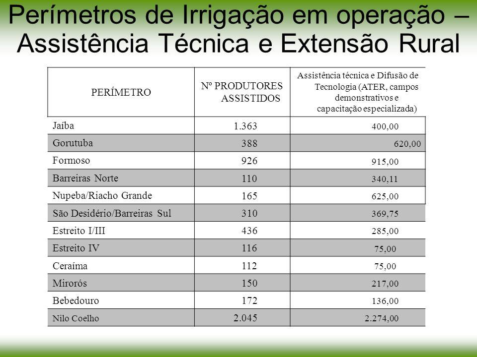 Perímetros de Irrigação em operação – Assistência Técnica e Extensão Rural PERÍMETRO Nº PRODUTORES ASSISTIDOS Assistência técnica e Difusão de Tecnolo