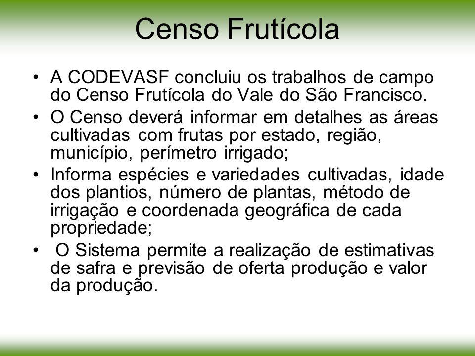 A CODEVASF concluiu os trabalhos de campo do Censo Frutícola do Vale do São Francisco. O Censo deverá informar em detalhes as áreas cultivadas com fru