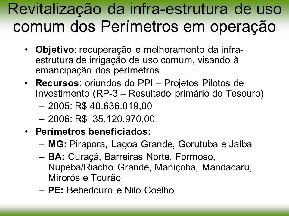 Objetivo: recuperação e melhoramento da infra- estrutura de irrigação de uso comum, visando à emancipação dos perímetros Recursos: oriundos do PPI – P