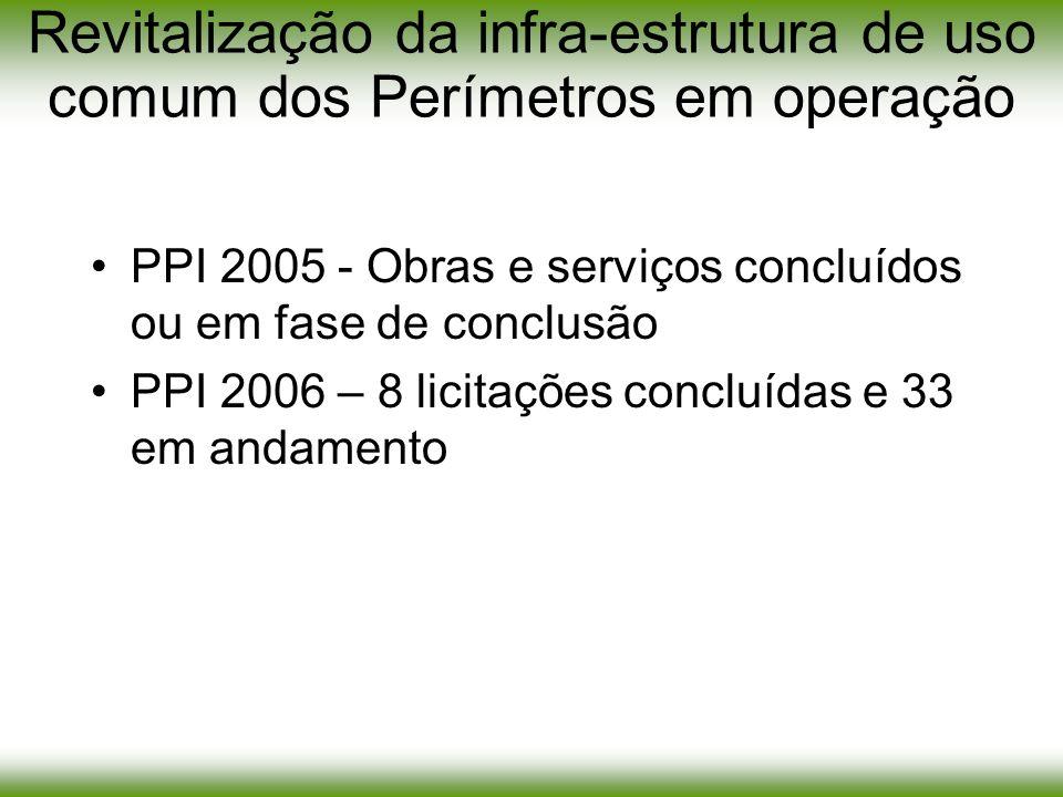 Revitalização da infra-estrutura de uso comum dos Perímetros em operação PPI 2005 - Obras e serviços concluídos ou em fase de conclusão PPI 2006 – 8 l