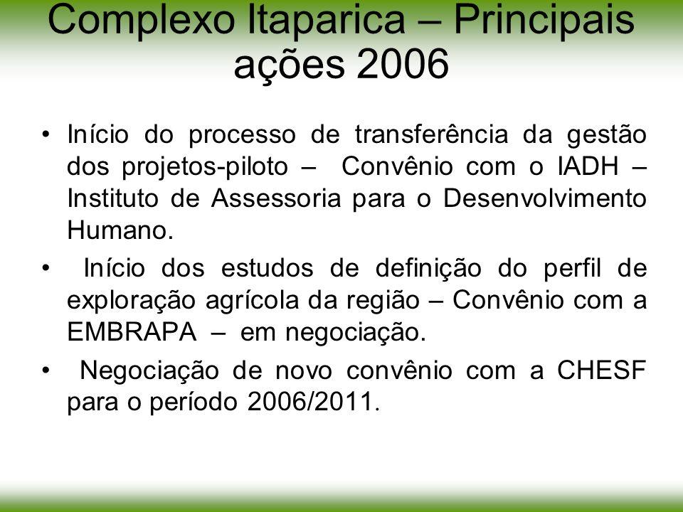 Complexo Itaparica – Principais ações 2006 Início do processo de transferência da gestão dos projetos-piloto – Convênio com o IADH – Instituto de Asse