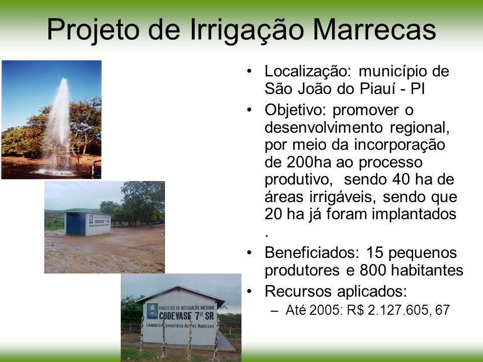 Projeto de Irrigação Marrecas Localização: município de São João do Piauí - PI Objetivo: promover o desenvolvimento regional, por meio da incorporação