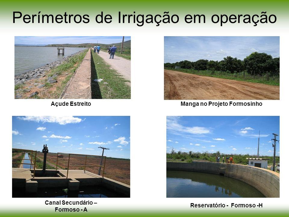 Manga Ceraima Perímetros de Irrigação em operação Açude EstreitoManga no Projeto Formosinho Canal Secundário – Formoso - A Reservatório - Formoso -H
