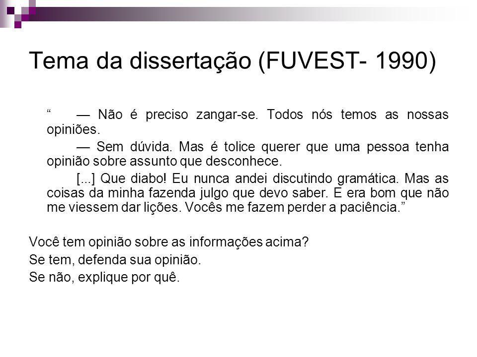 Tema da dissertação (FUVEST- 1990) Não é preciso zangar-se.