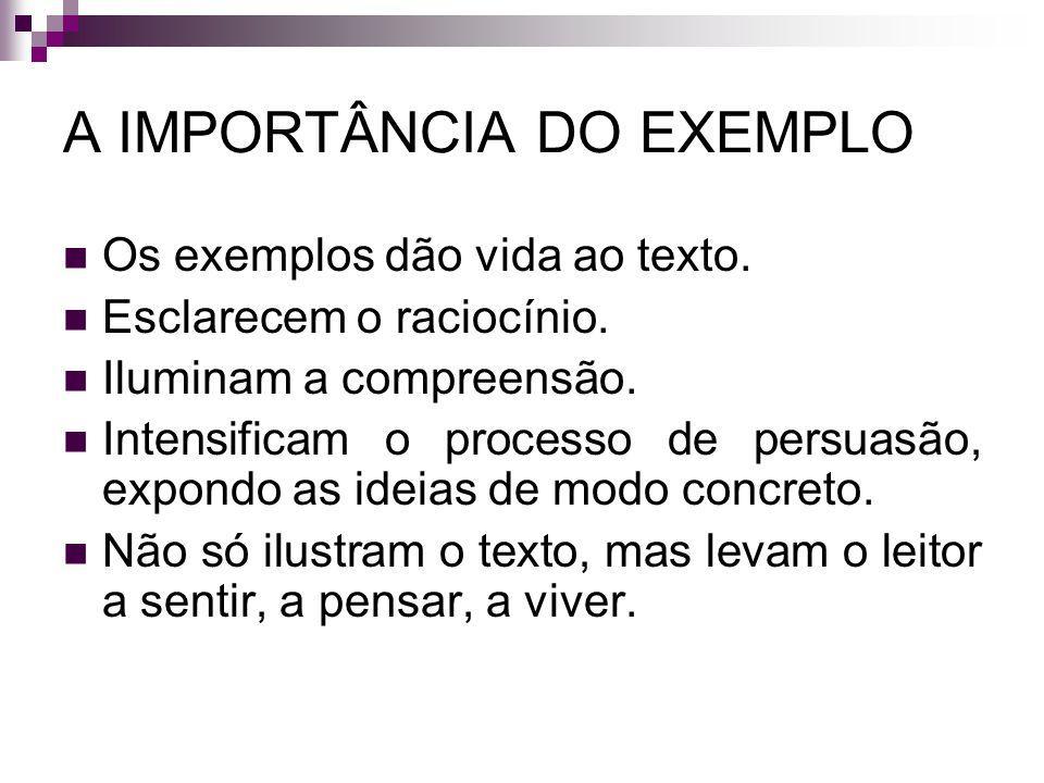 A IMPORTÂNCIA DO EXEMPLO Os exemplos dão vida ao texto. Esclarecem o raciocínio. Iluminam a compreensão. Intensificam o processo de persuasão, expondo