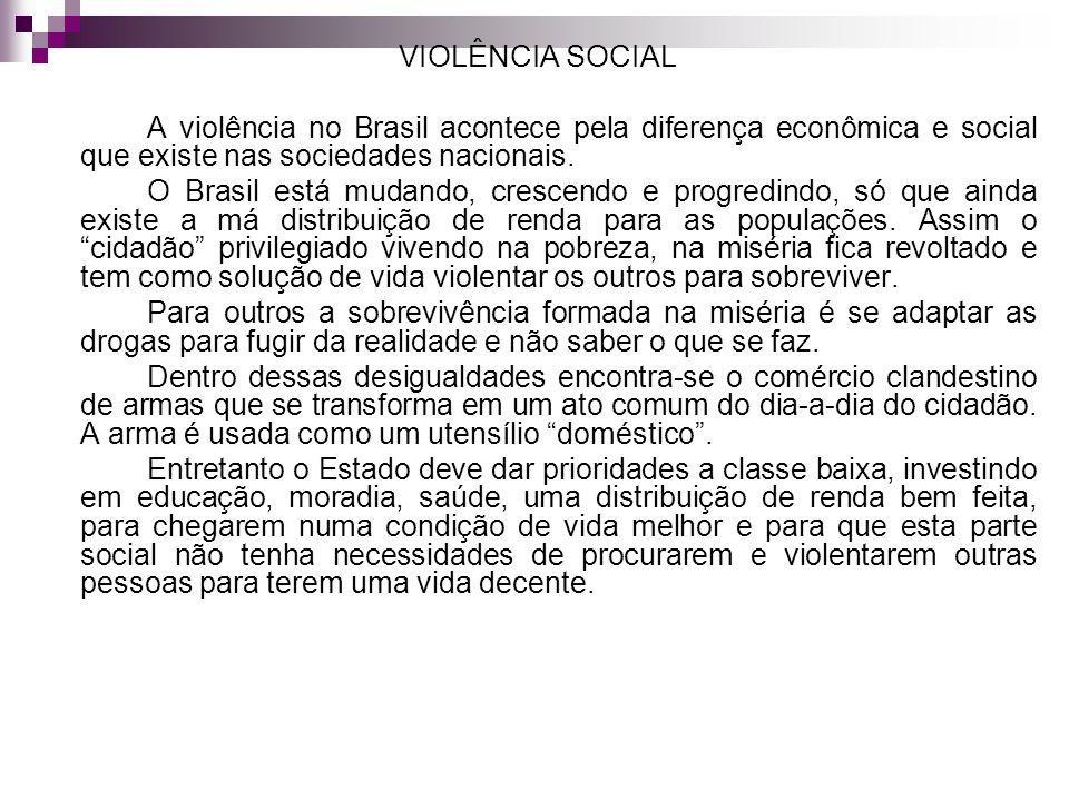 VIOLÊNCIA SOCIAL A violência no Brasil acontece pela diferença econômica e social que existe nas sociedades nacionais.