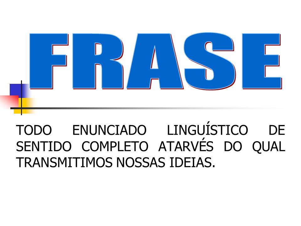 TODO ENUNCIADO LINGUÍSTICO DE SENTIDO COMPLETO ATARVÉS DO QUAL TRANSMITIMOS NOSSAS IDEIAS.