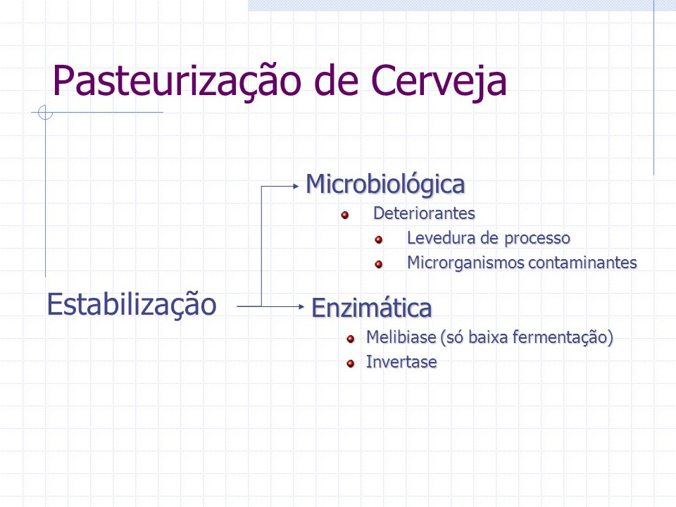 Pasteurização de Cerveja Estabilização MicrobiológicaDeteriorantes Levedura de processo Microrganismos contaminantes Enzimática Melibiase (só baixa fe