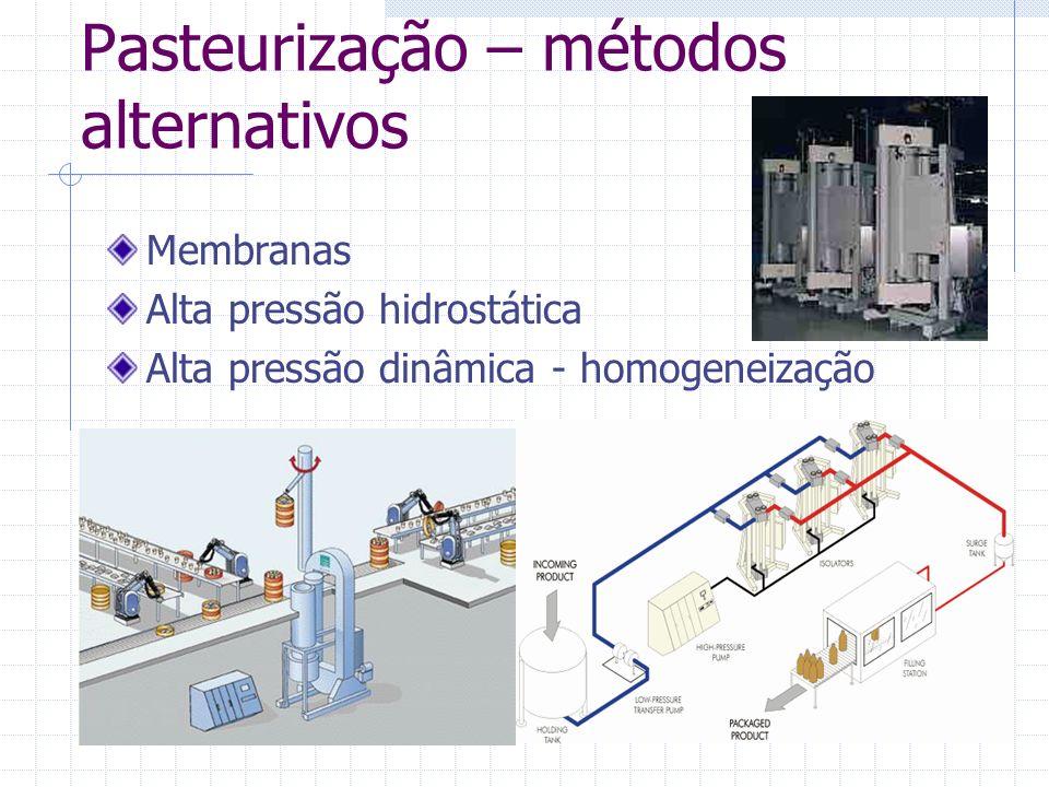Pasteurização – métodos alternativos Membranas Alta pressão hidrostática Alta pressão dinâmica - homogeneização