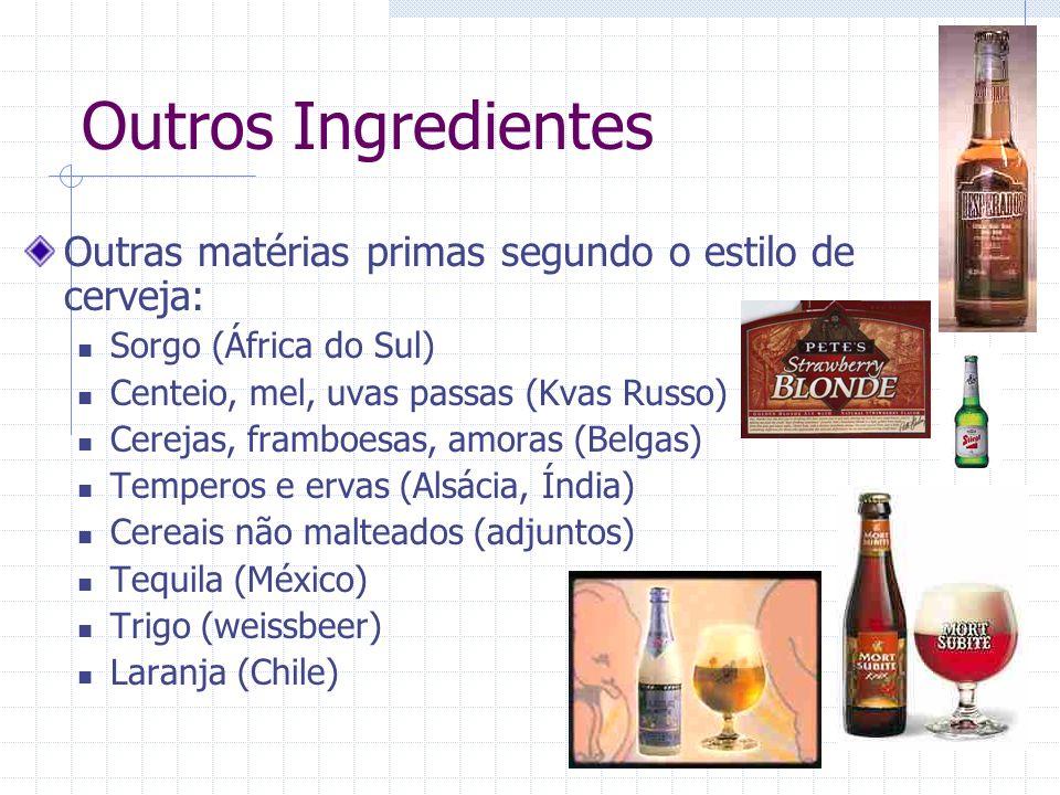 Outros Ingredientes Outras matérias primas segundo o estilo de cerveja: Sorgo (África do Sul) Centeio, mel, uvas passas (Kvas Russo) Cerejas, framboes