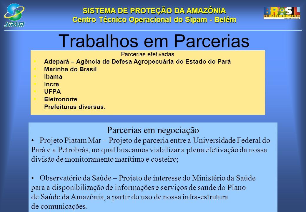 SISTEMA DE PROTEÇÃO DA AMAZÔNIA Centro Técnico Operacional do Sipam - Belém Parcerias efetivadas Adepará – Agência de Defesa Agropecuária do Estado do Pará Marinha do Brasil Ibama Incra UFPA Eletronorte Prefeituras diversas.