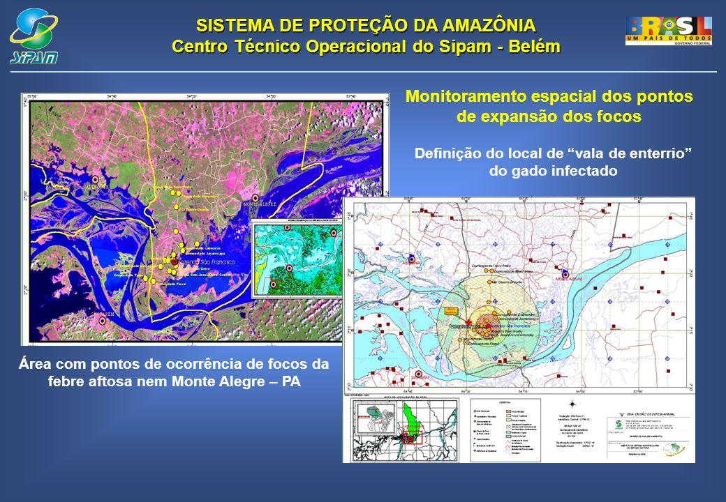 SISTEMA DE PROTEÇÃO DA AMAZÔNIA Centro Técnico Operacional do Sipam - Belém Área com pontos de ocorrência de focos da febre aftosa nem Monte Alegre –
