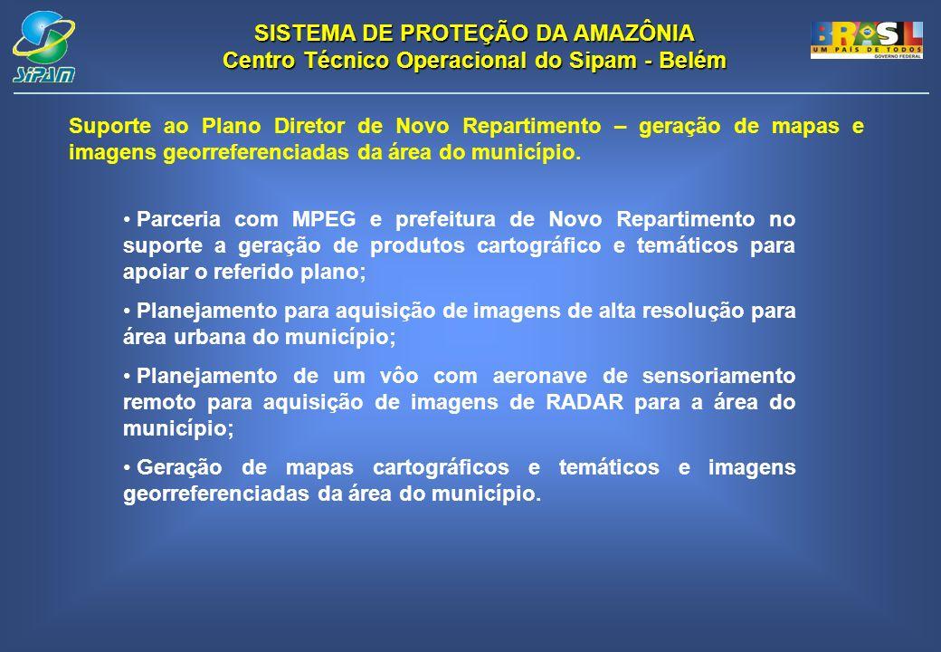 SISTEMA DE PROTEÇÃO DA AMAZÔNIA Centro Técnico Operacional do Sipam - Belém Suporte ao Plano Diretor de Novo Repartimento – geração de mapas e imagens