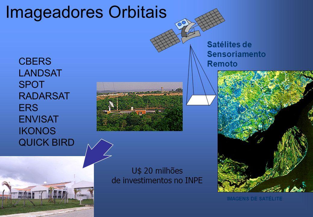 Satélites de Sensoriamento Remoto CBERS LANDSAT SPOT RADARSAT ERS ENVISAT IKONOS QUICK BIRD IMAGENS DE SATÉLITE Imageadores Orbitais U$ 20 milhões de