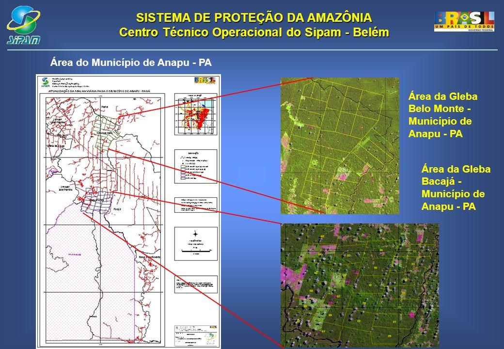 SISTEMA DE PROTEÇÃO DA AMAZÔNIA Centro Técnico Operacional do Sipam - Belém Área da Gleba Belo Monte - Município de Anapu - PA Área da Gleba Bacajá - Município de Anapu - PA Área do Município de Anapu - PA